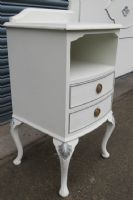 Louis Style White Painted Double Bedhead with attached Bedside Cabinets